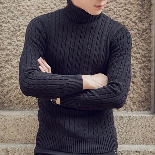 suéter tejido de invierno entallado cuello de cisne p/hombre