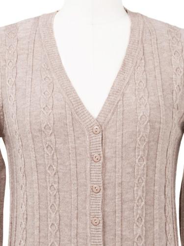 suéter tejido de punto fino, botones abierto, abrigo.