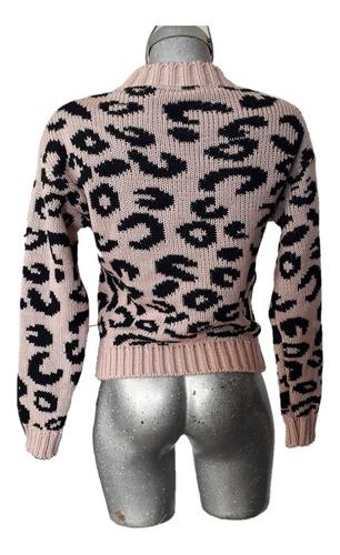sueter tejido mujer animal print cruzado trenza leopardo