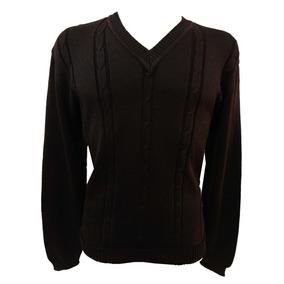 797e4c209 Suéter Blusa Trico Lã Masculina Gola V Tranças Marrom