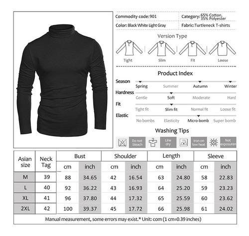 suéteres de manga larga de cuello alto para hombre m-2xl