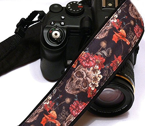 sugar skulls camera strap, dia de los muertos, day of the de