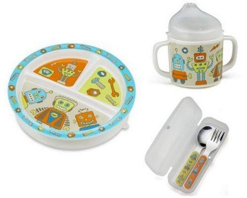 sugarbooger dividido placa, sippy copo e talheres set-retro