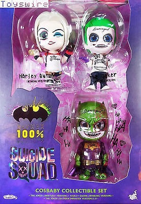 suicide squad set cosbaby 3 piezas hot toys ex batman 100%