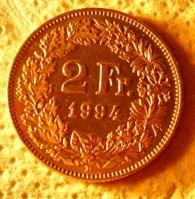 suiza:moneda de 2 francos año 1994-excelente!!
