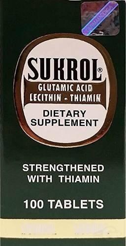 sukrol dietary supplement 100 tabs fortalecido con tiamina