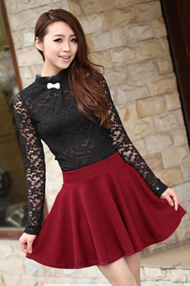ea93bb36d Suku Kawaii Cute Falda Corta Circular Roja Moda Asia