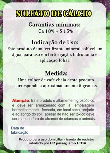 sulfato de cálcio = gesso agrícola condicionador solo - 1 kg