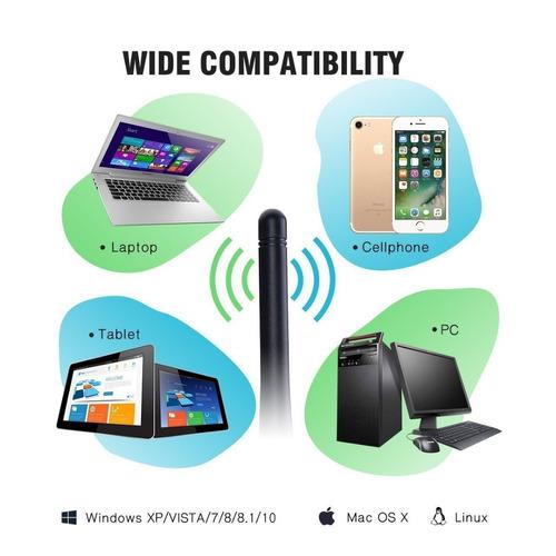 sumgott wifi adaptador usb wireless dongle antena de doble b