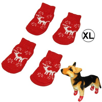 suministro mascota calcetine cute deer pattern cotton rojo