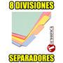 Separador De Materias De Colores 8 Divisiones (incluye Iva)