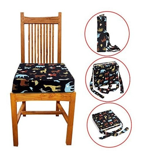 Sumnacon Chair Increasing Cushion Baby Toddler Kids Infant Portable Dismountable Highchair Booster Cushion Washable Thick Chair Seat Cloth Straps,Elephant