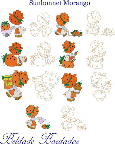 sunbonnet morango - coleção de matriz de bordado