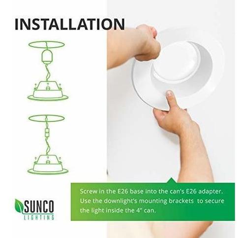 sunco lighting 10 paquetes de 4 pulgadas de luz empotrada le