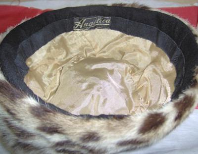 sundborn antiguo sombrero tela negra y borde de piel olivos