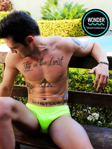 sunga wonder - modelo slip estampa yellow fluor