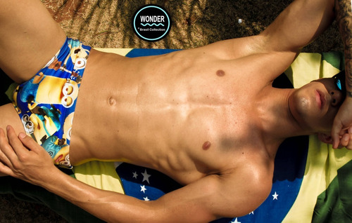 sunga wonder - modelo st. tropez - estampa minion