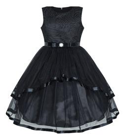 Sunny Fashion Flor Chica Vestido Negro Boda Fiesta 12 Años