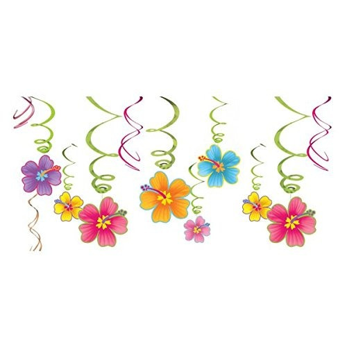 sunsational summer luau party tropical hibisco swirl decorat