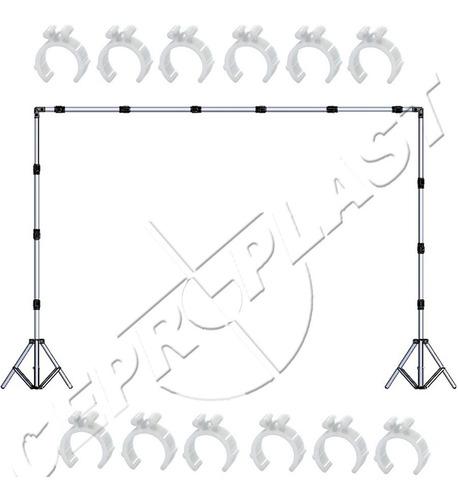 sup fundo infinito+2 tripé holofote+ bolsa+tecido branco 3x2