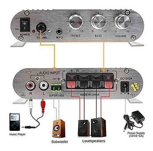 super bass 200w amplificador lp-838 12v mini amplificador d