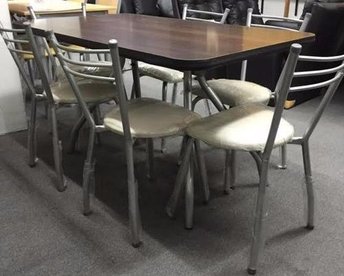 super combo! mesa 140x80 haya con 6 sillas caño!!imbatible!!