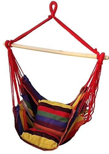 súper cómoda silla de cuerda colgante a rayas (naranja)