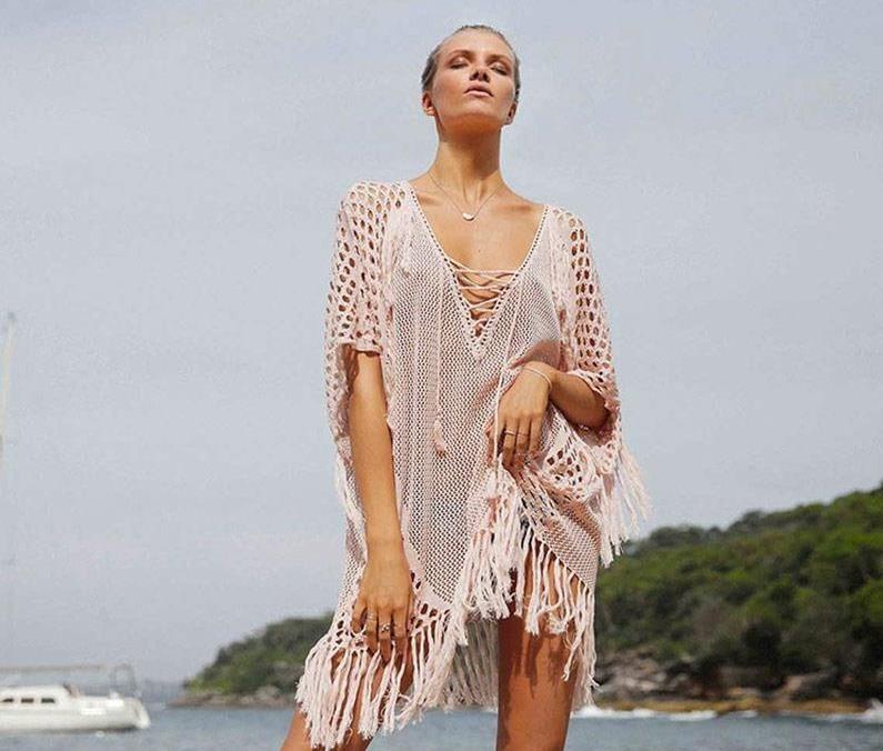 7f53036ebbec Super Elegante Cover Up Vestido Pareo Tejido Salida Playa