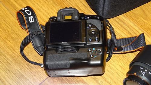super equipo sony a500 12.3mp lente 18-55 55-200 mas grip