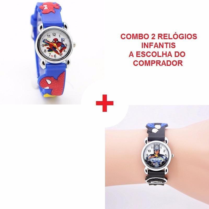 6aff58f695b Super Feirão 2 Relógios Infantil Batman Robin Homem Aranha