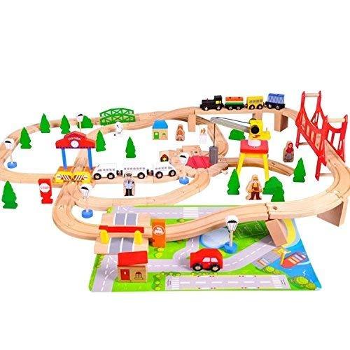 Super Fun Wooden Train Set Con Tapete De Juego Más De