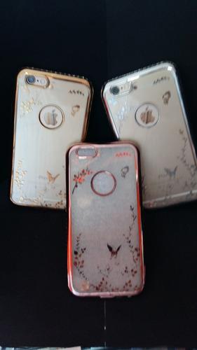 super funda lujo iphone 6 6s diseño + vidrio templado