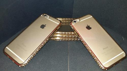 super funda lujo iphone 6 6s dorada con piedras