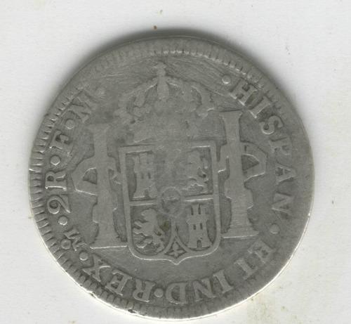 super ganga, 2 reales carlos iii, mexico mo fm año 1784