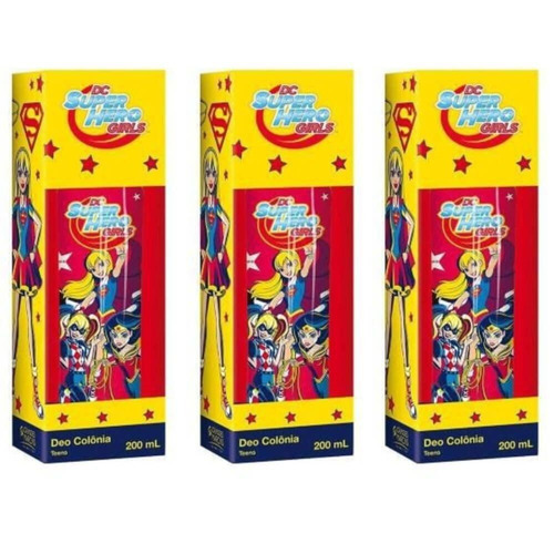 super hero girls deo colônia infantil 200ml (kit c/03)