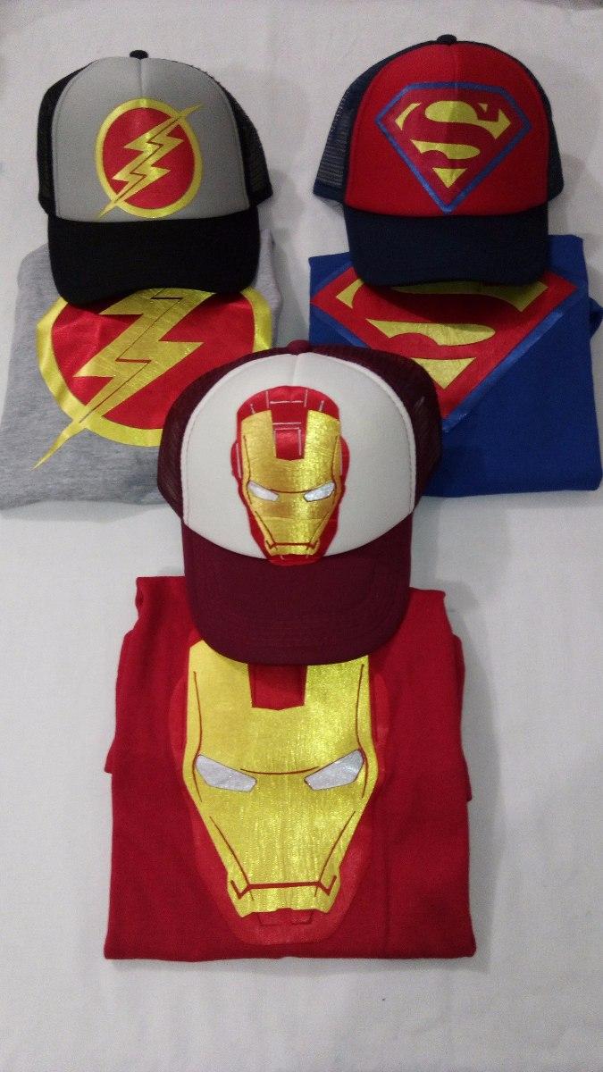 Super Heroes Camisetas Y Gorras Combo Niños Todos Los Perso ... 6e0b226839a