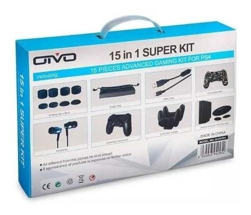 super kit 15 em 1 de ps4 slim e ps4 pro acessórios diversos