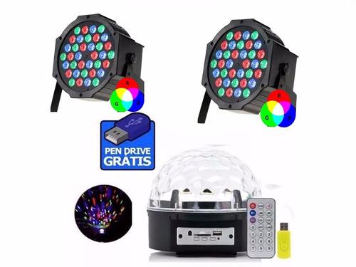 super kit 3 festa iluminação dj balada bola maluca jogo luz