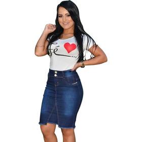 Super Kit 5 Saias Jeans Secretaria Moda Evangelica Variadas