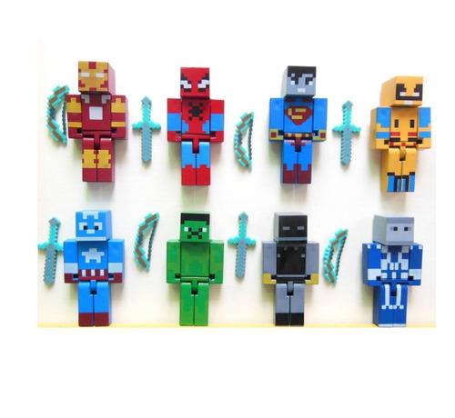 super kit 8 bonecos minecraft e espada 7,50 cm frete gratis