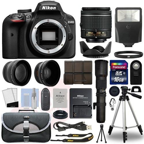 super kit camara nikon d3400 4 lens 18-55mm vr+ 500mm+19 acc