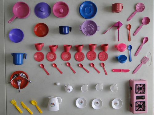 super kit com 55 itens panelinha xicara fogão talher prato