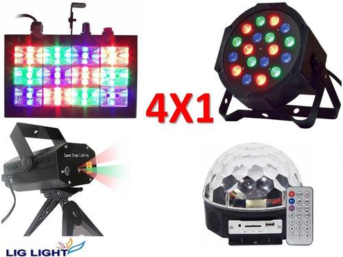 super kit festa iluminação festa 4x1 jogo de luz par 18 rgb