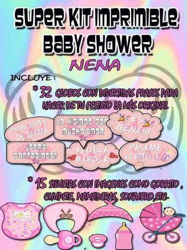 super kit imprimible baby shower props-carteles +juegos nena
