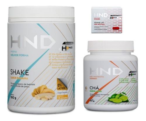 super kit  perda de peso shake + chá + suplemento hnd