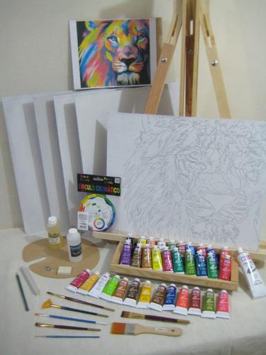 super kit pintura oleo, set el mas completo, arte, caballete