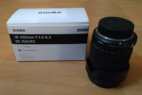 super lente sigma 18-300mm nikon f3.5-6.3 dc macro 300mm