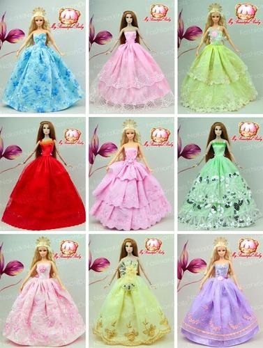 super lote * 5 vestidos para boneca barbie + 10 sapatinhos