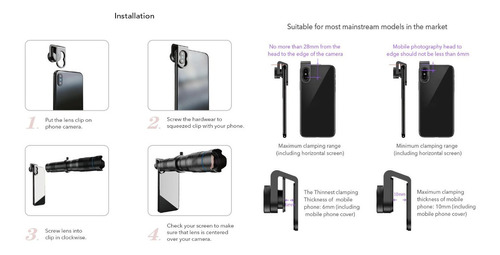 super luneta lente zoom 28x hd tripé monóculo celular iphone