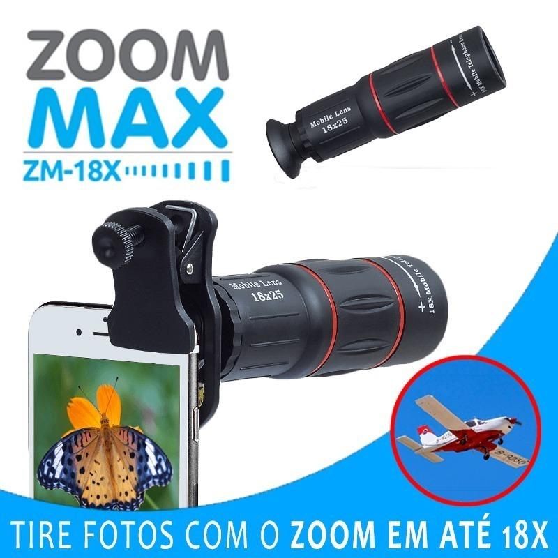 Super Luneta Zoom Maxx 18x Para Celular Com Kit Lentes Tripé - R ... a37274e735